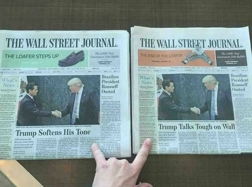 Same headlines, slanted to different regions of the country.