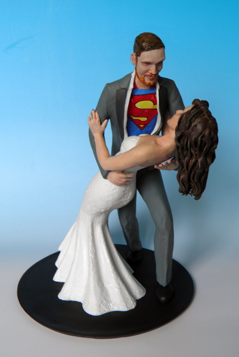 Superman custom wedding cake topper concept complete with