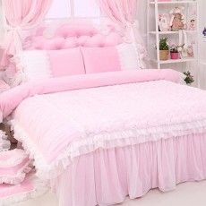 Rose Ruffle Duvet Cover Set, Light Pink