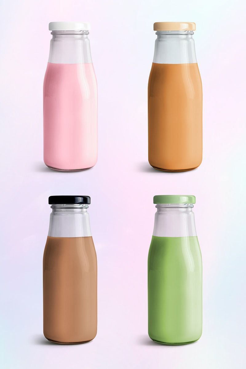 Download Premium Psd Of Colorful Milk Tea In Glass Bottle Mockups 2392147 Bottle Mockup Milk Tea Bottle