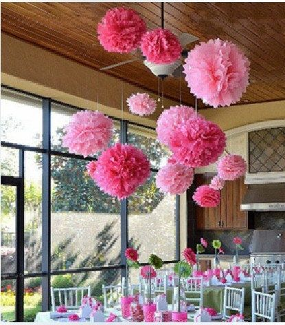 Tissue Paper Ball Decorations 10Pcs 14Inch Free Shipping Tissue Paper Pom Poms Wedding