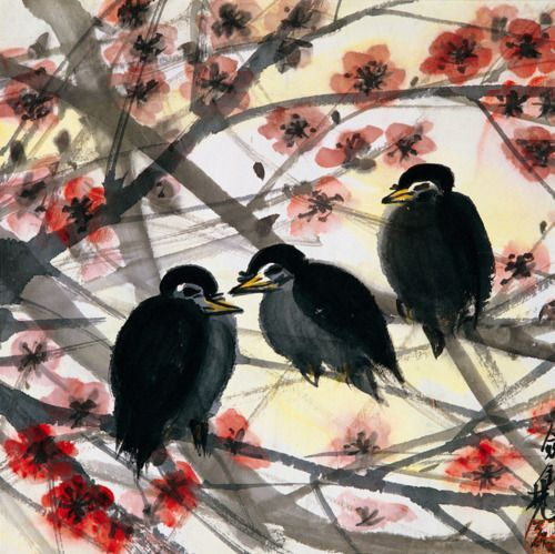 Lin Fengmian | Plum Tree and Birds - Lin Fengmian | Chinese Paintings