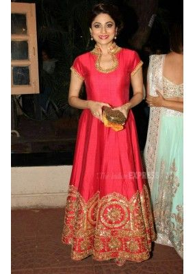 Bollywood Replica - Shamita Shetty Designer Pink Silk Anarkali ...