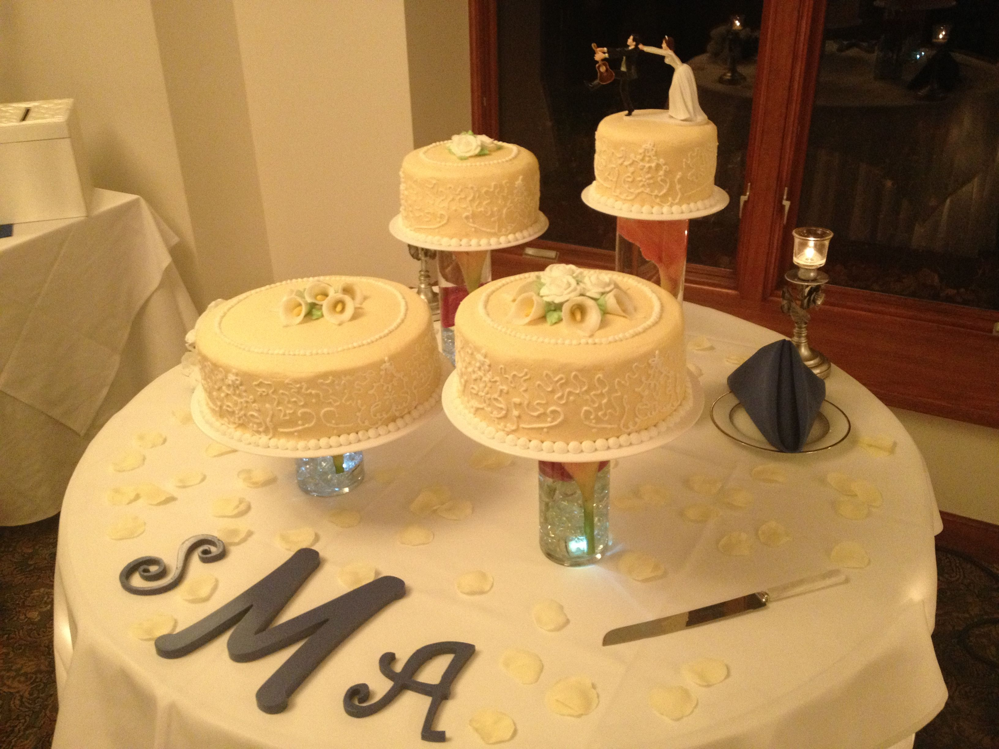 Wedding cake! Fall wedding, royal blue Carolina blue, orange, brown ...