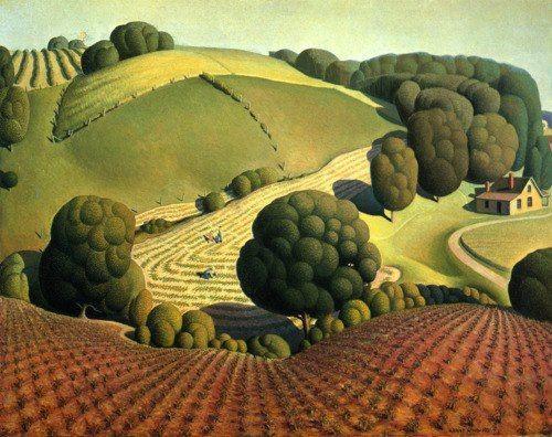"grant wood - ""young corn"", 1931, oil on masonite panel."