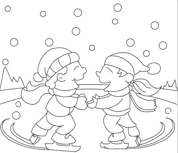 Two Boy Ice Skating Winter Coloring Page : KidsyColoring