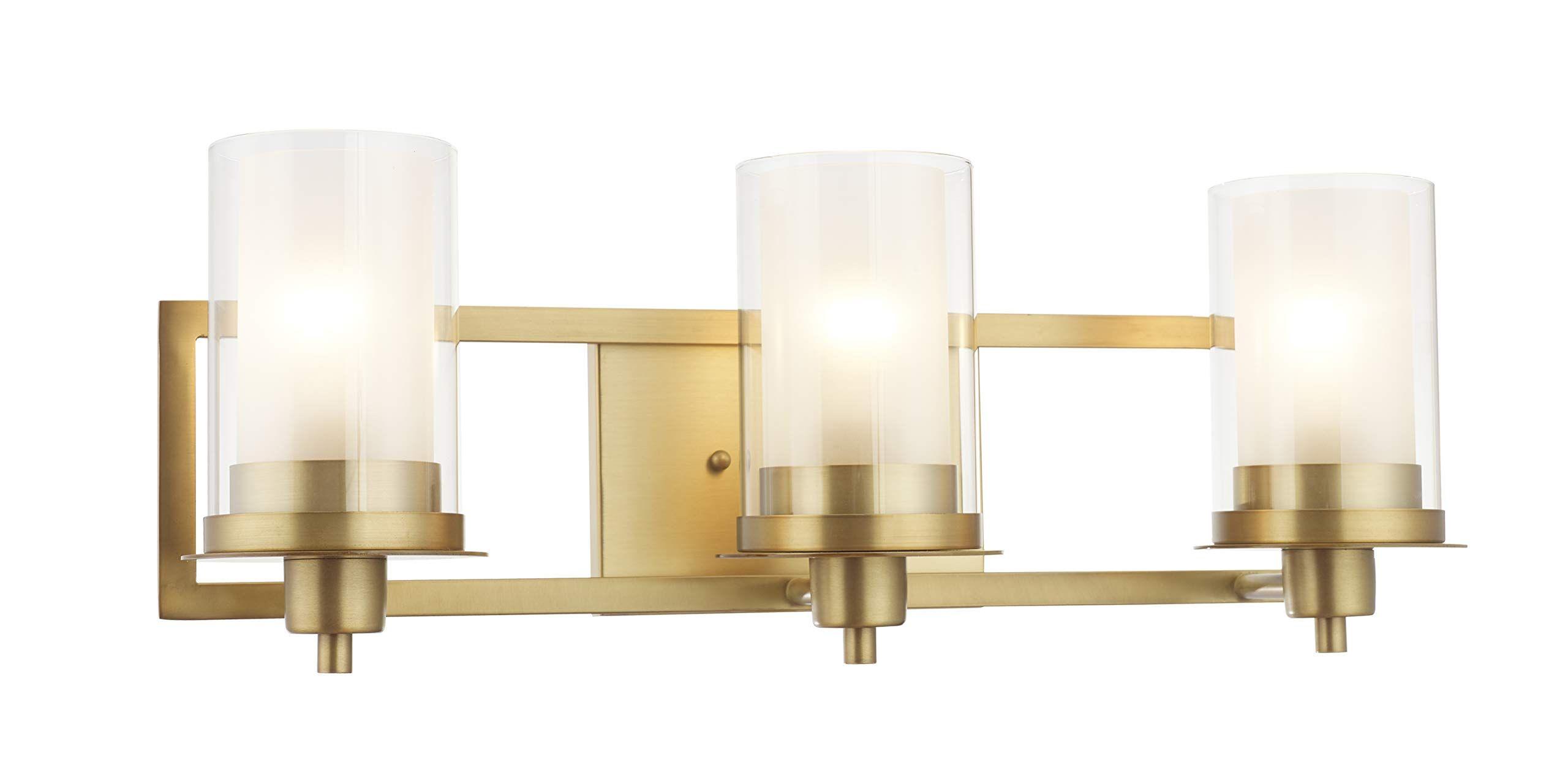 Designers Impressions Juno Brushed Brass 3 Light Wall ... on Bathroom Sconce Lights Brushed Bronze id=64487