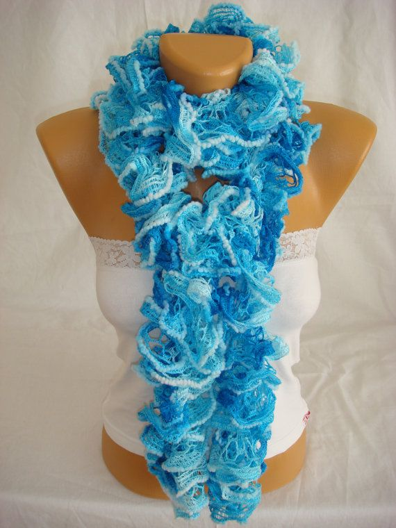 Hand knitted sky blue ruffled scarf by Arzus on Etsy, $18.90