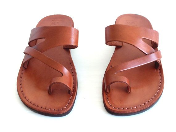 57700f76acb Leather Sandals JERICHO Shoes Thongs Flip Flops Flats Slides Slippers on  Etsy