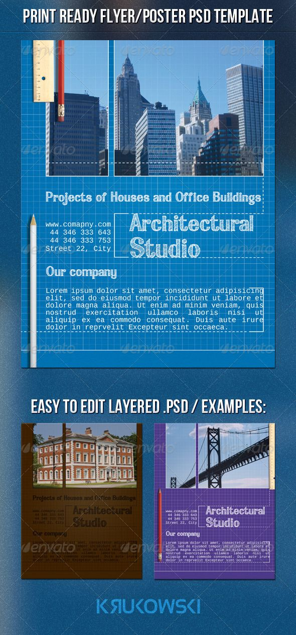 Blueprint architect flyer fonts logos icons pinterest print blueprint architect flyer malvernweather Gallery