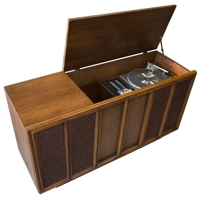 RCA Model Console Stereo With FMu0026 Radio And Automatic Turntable.  Contemporary Styled Cabinet Made From Solid Wood And Walnut Wood Veneers.