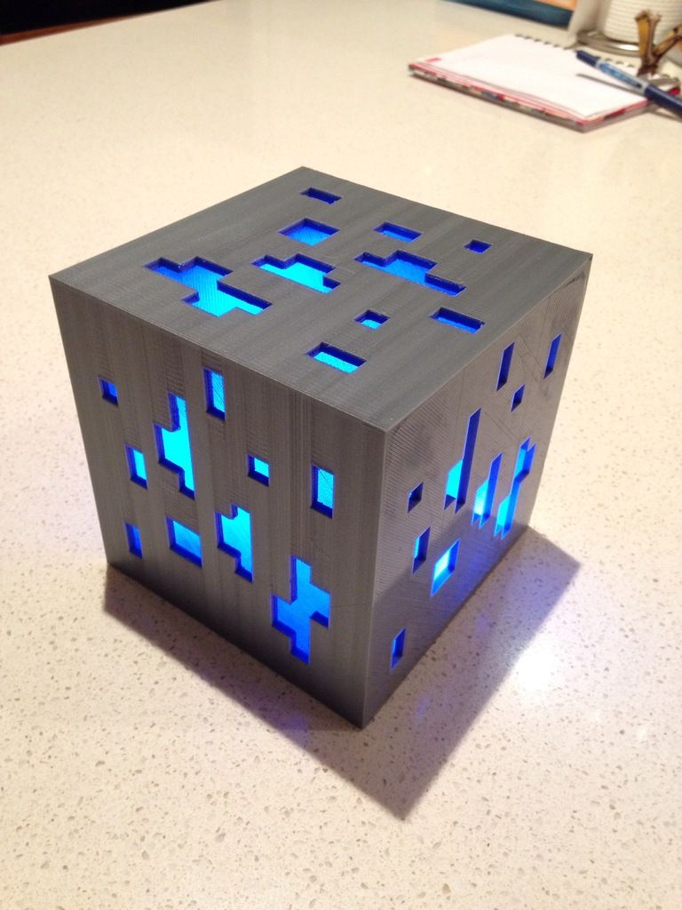 Minecraft Diamond Ore Lamp By I Am Me Thingiverse 3d Printing Diy Prints 3d Printer Designs