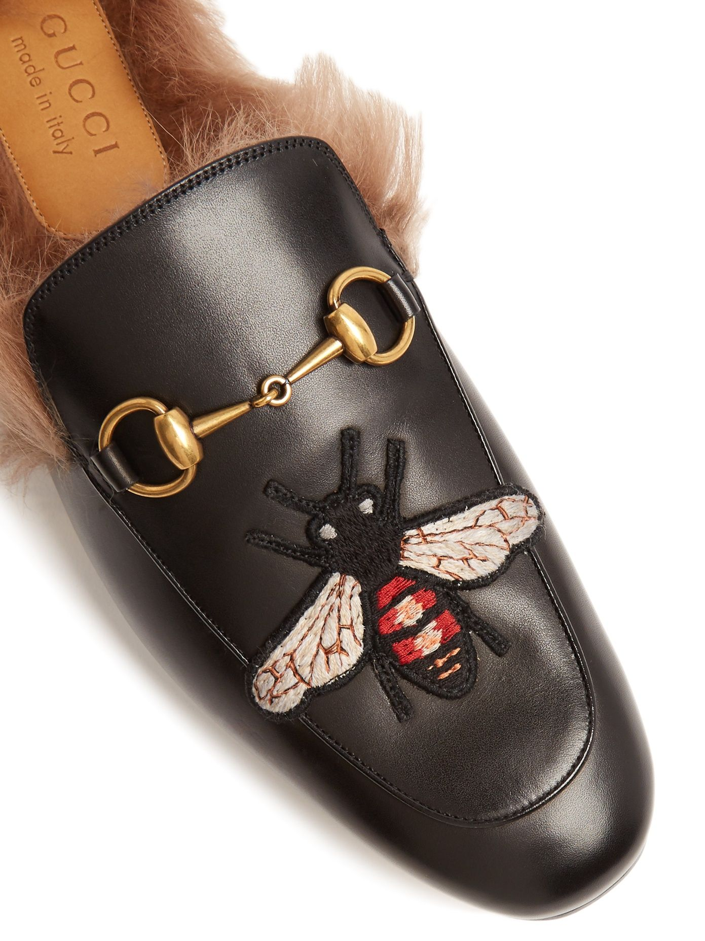 5df543b1d Click here to buy Gucci Princetown bee-appliqué shearling-lined loafers at  MATCHESFASHION.COM