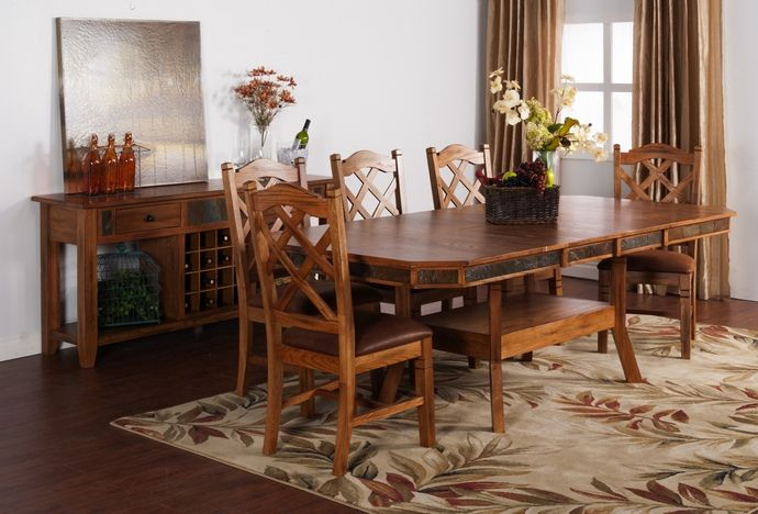 7 Pc Sedona Collection Rustic Oak With Distressed Finish