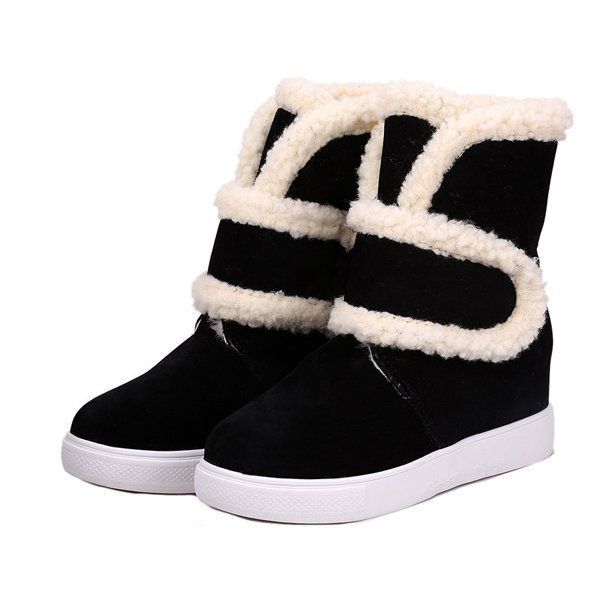 eshion Womens Lace Up Flat Heel Ankle Snow Boot Fleece Lined
