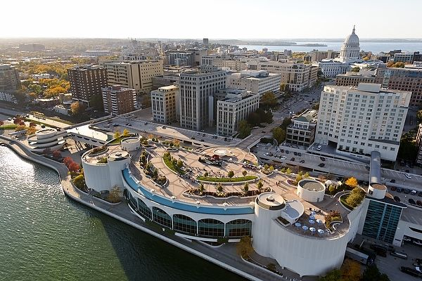 Aerial photo of monona terrace wi 39 s capital city for The terrace madison wi