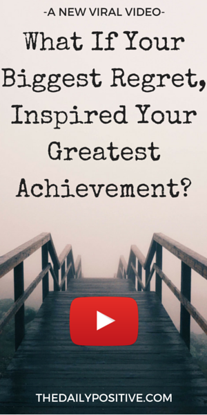 You can't always measure life by your great achievements. Sometimes you need to think about what got you there, and that could be a huge regret. Is there some way to turn your regrets into your greatest achievement? Watch this amazing video!