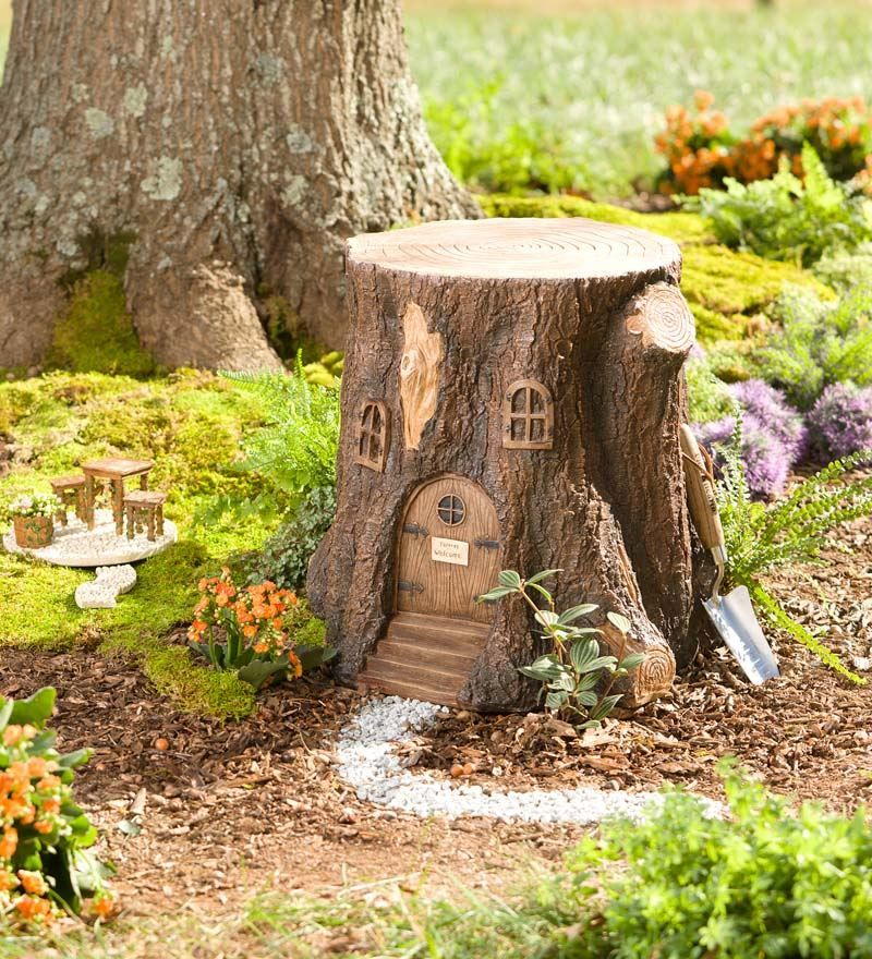 Whimsical fairy garden tree stump stool miniature fairy for Tree trunk slice ideas