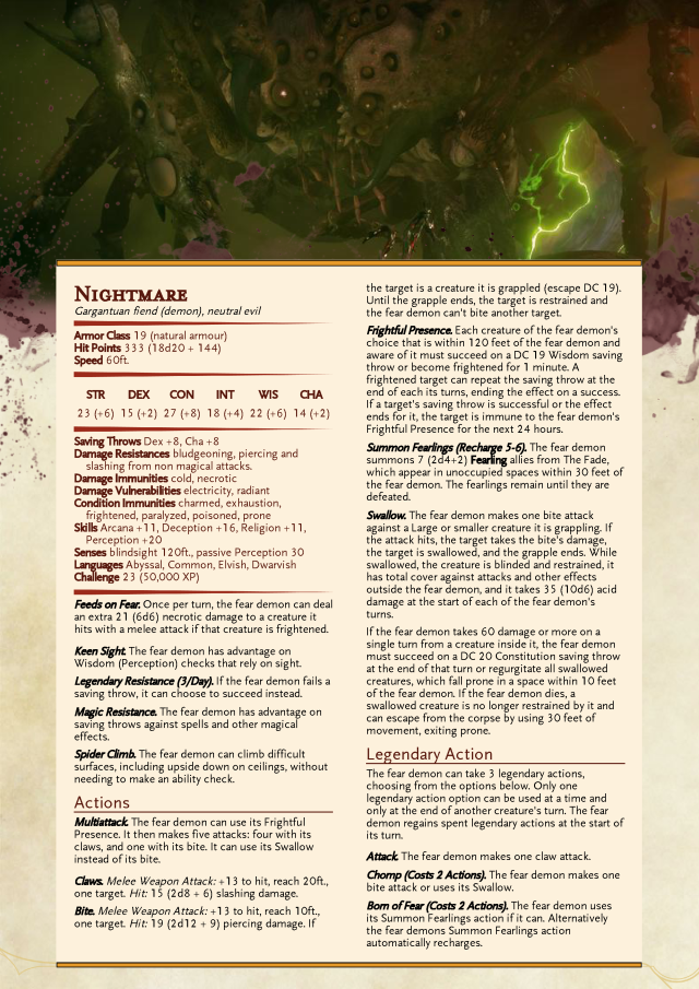 Dnd 5e Nightmare : nightmare, Nightmare, Homebrew,, Lovecraft, Monsters