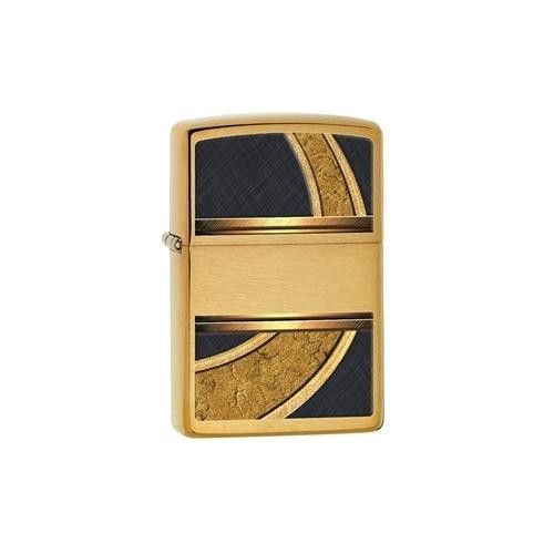 Gold and Black Brushed Brass Zippo