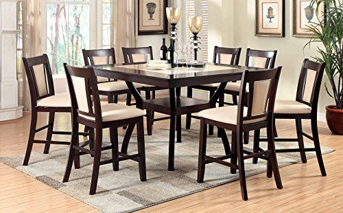 Furniture Of America Dalcroze 9Piece Modern Faux Marble Top Pub Dining Set  Dark Cherry