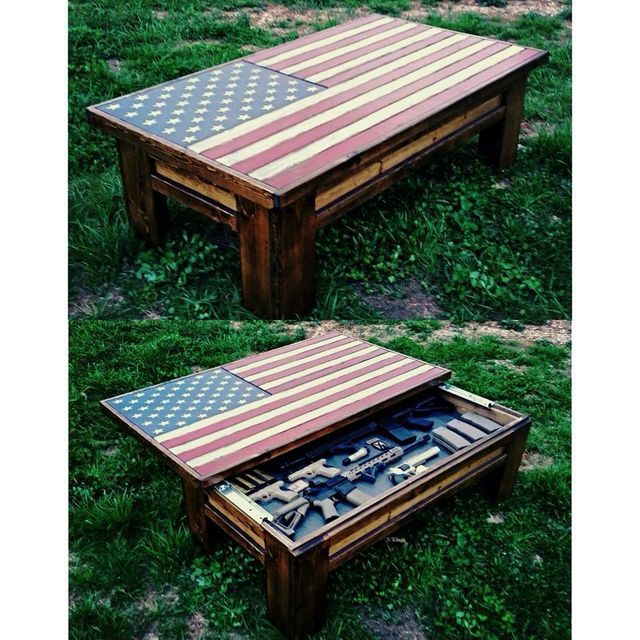 Gun Storage Coffee Table Plans: American Flag Coffee Table/ Hidden Gun Case