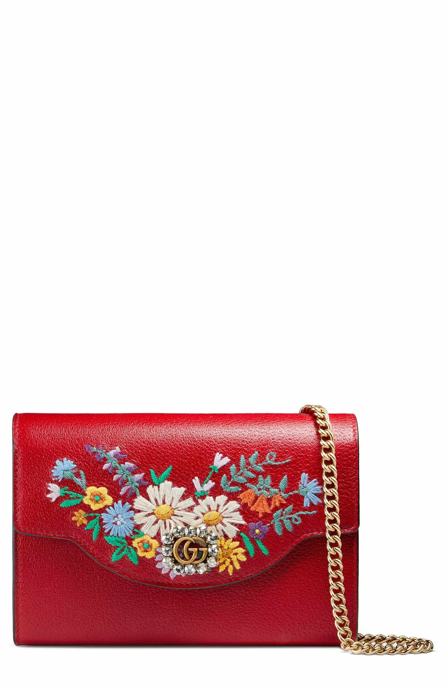 46d54eccba Main Image - Gucci Embroidered Floral Leather Wallet on a Chain ...