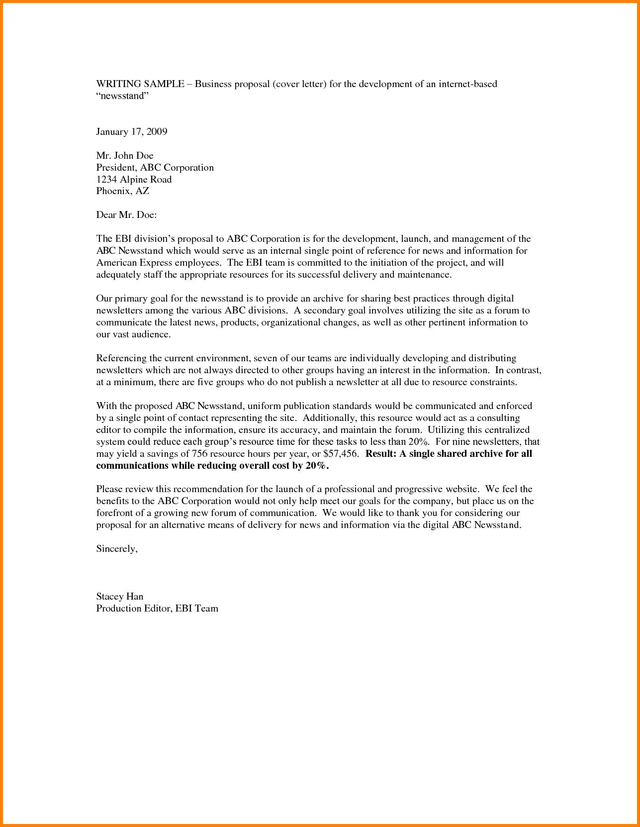 Business Idea Proposal Template Doc Letter Outline Sample