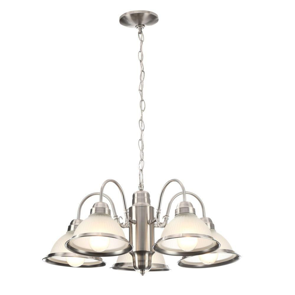 Hampton Bay Halophane 5 Light Brushed Nickel Chandelier With Frosted Ribbed Glass Shades