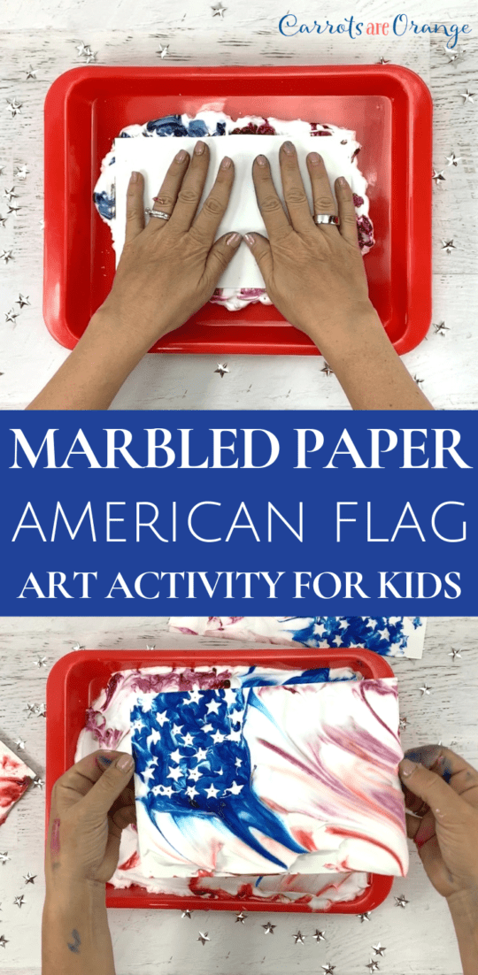 Make a Marbled Art Paper Print of the American Flag
