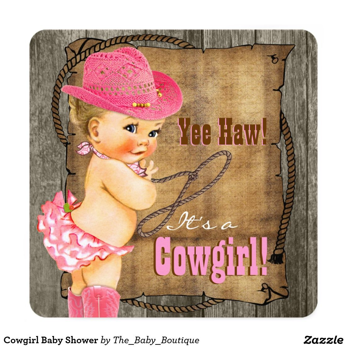 Cowgirl Baby Shower Card | Cowgirl baby showers, Cowgirl baby and ...