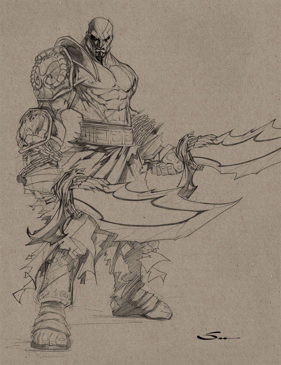 Kratos Sketch By Sandoval Art On Deviantart Kratos Desenho