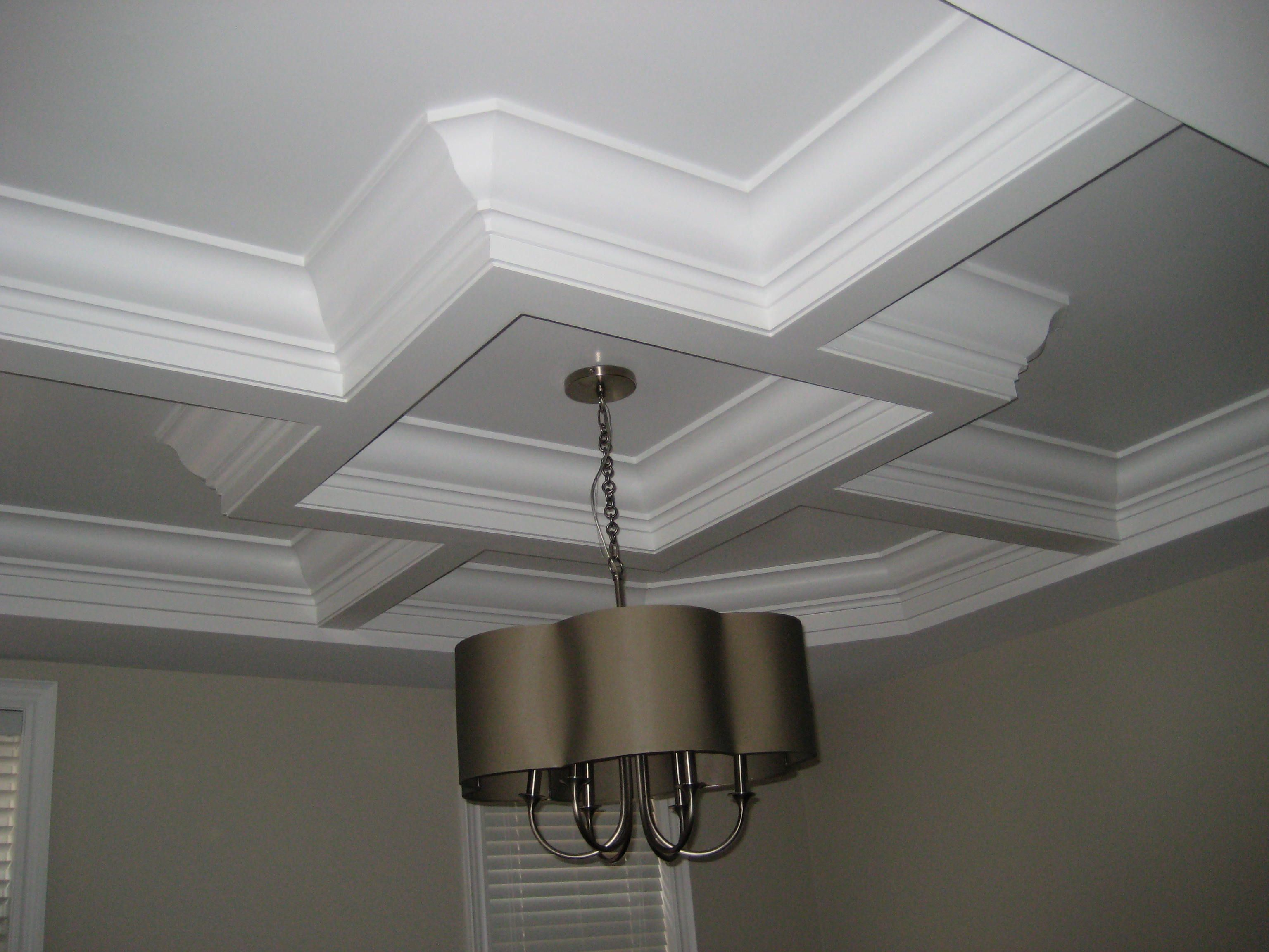 Waffle Ceiling Dining Room Georgian Crown Moulding Installed - Cornice crown moulding toronto wainscoting coffered ceiling