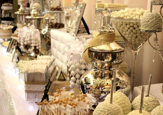 Hostess with the Mostess® - Southern Candy Table - Burlap & Bling Metallic wedding decor Metallic lolly station