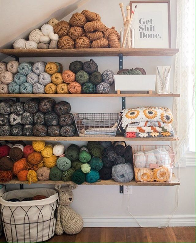 Barn board shelves + cozy yarn = my happy place.