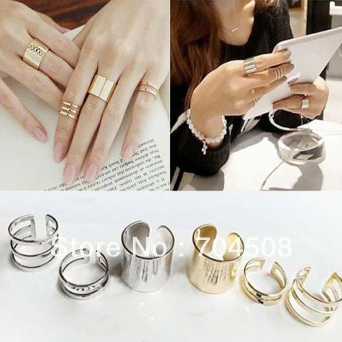 FD143 3Pcs Cut Above Knuckle Smooth Band Midi Mid Finger Top Stacking Split Ring