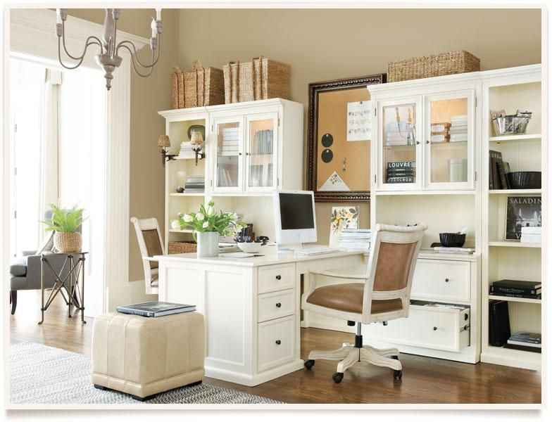 neutral home office with partners desk | office | pinterest