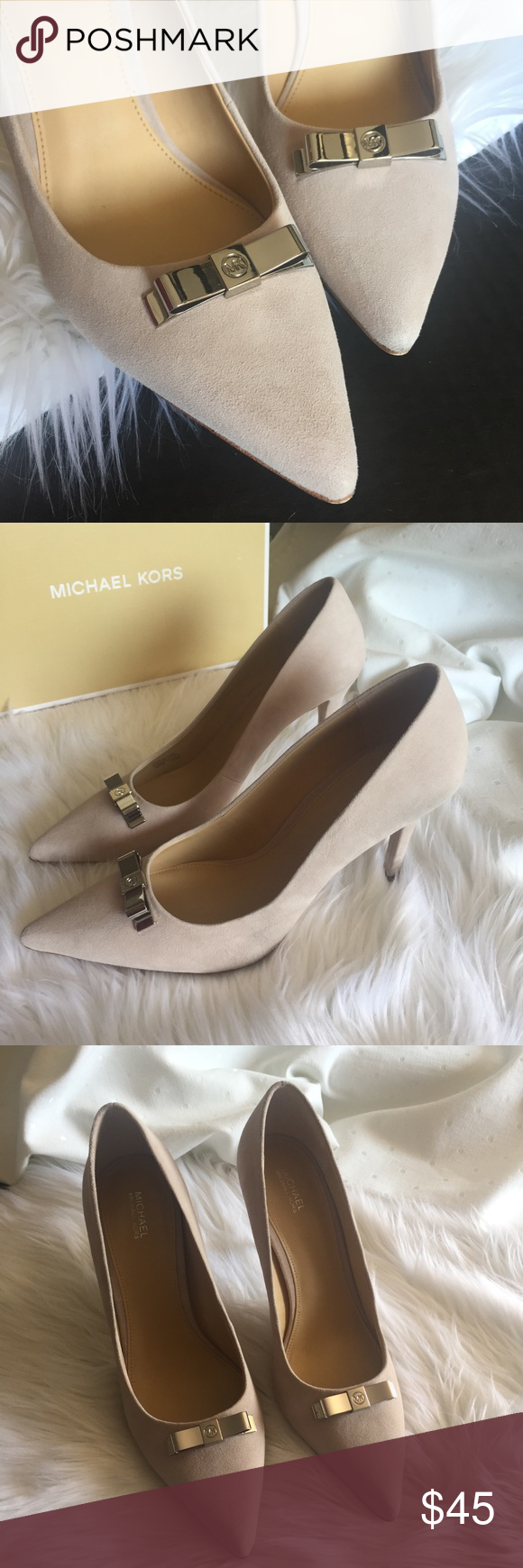 "5dbbecafcadd MICHAEL Michael Kors • Vivienne Suede Pump Beautiful neutral color  (""cement"") suede"