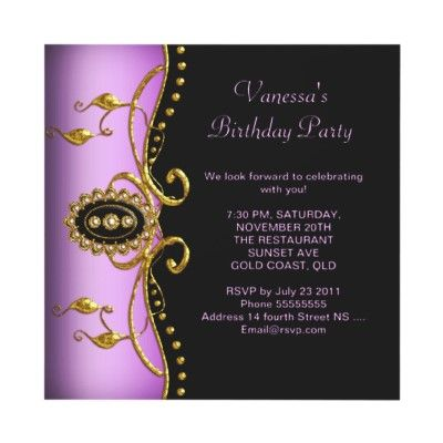 Birthday Party Gold Black Lilac Pink Personalized Invites