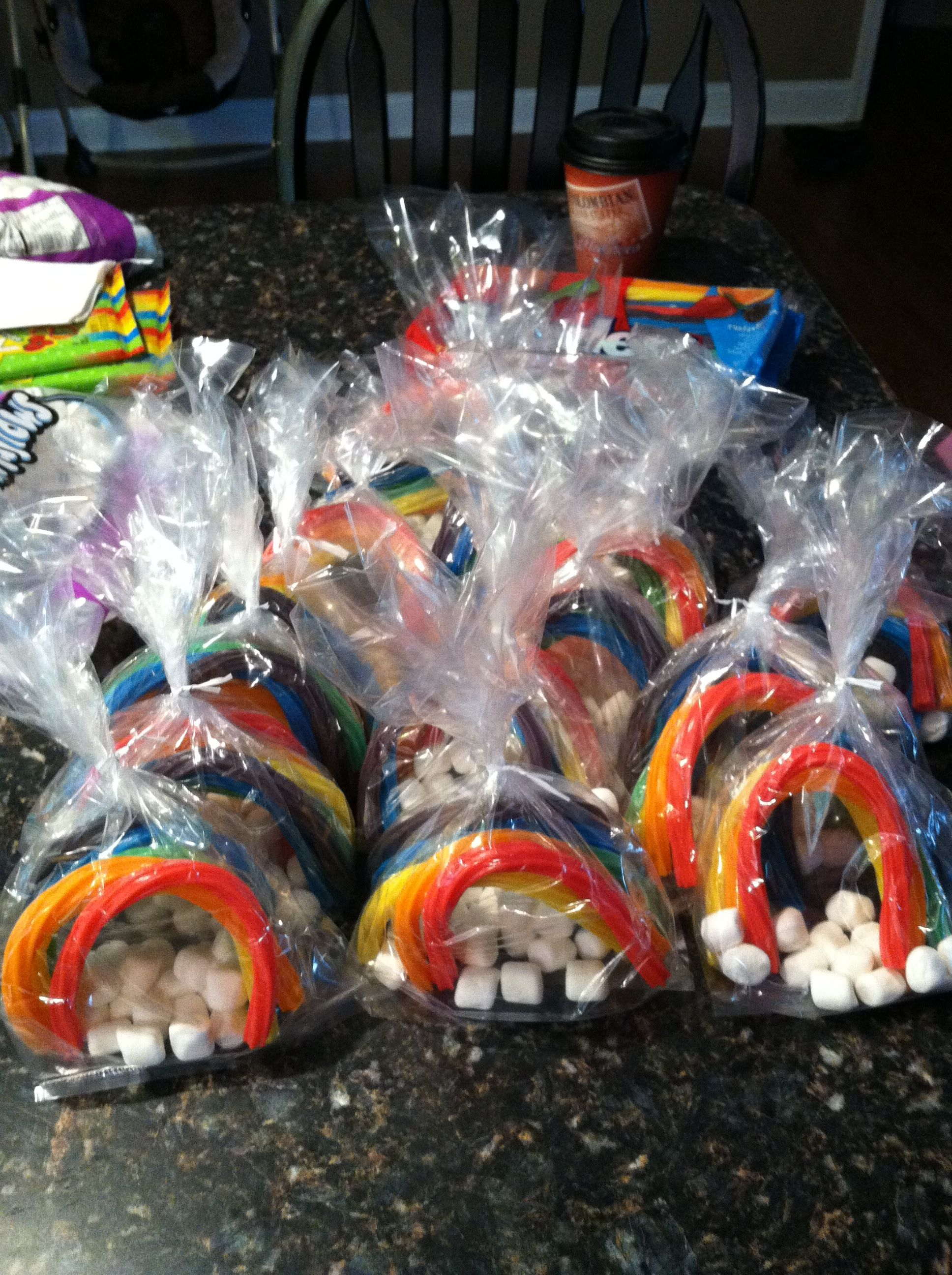 Rainbow twizzlers and mini marshmallows...for Girl Scout ...
