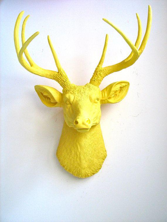 YELLOW Faux Taxidermy Deer Head Animal Head wall hanging wall mount ...