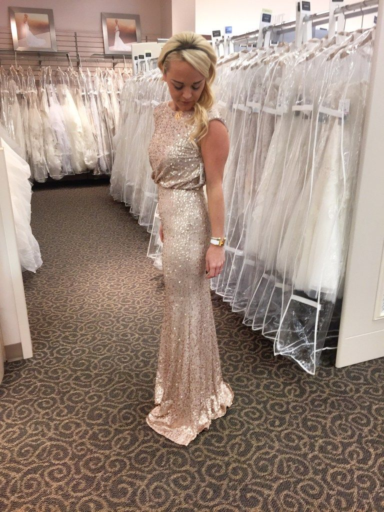 A gold sequin bridesmaid dress from davids bridal urban a gold sequin bridesmaid dress from davids bridal urban blondes bridesmaid shopping appointment experience ombrellifo Image collections