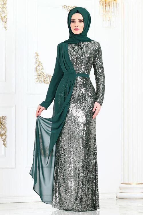 Modaselvim Abiye Sifon Detay Pul Payet Abiye 2155ms212 Zumrut Model Baju Wanita Gaun Panjang Pakaian Pesta