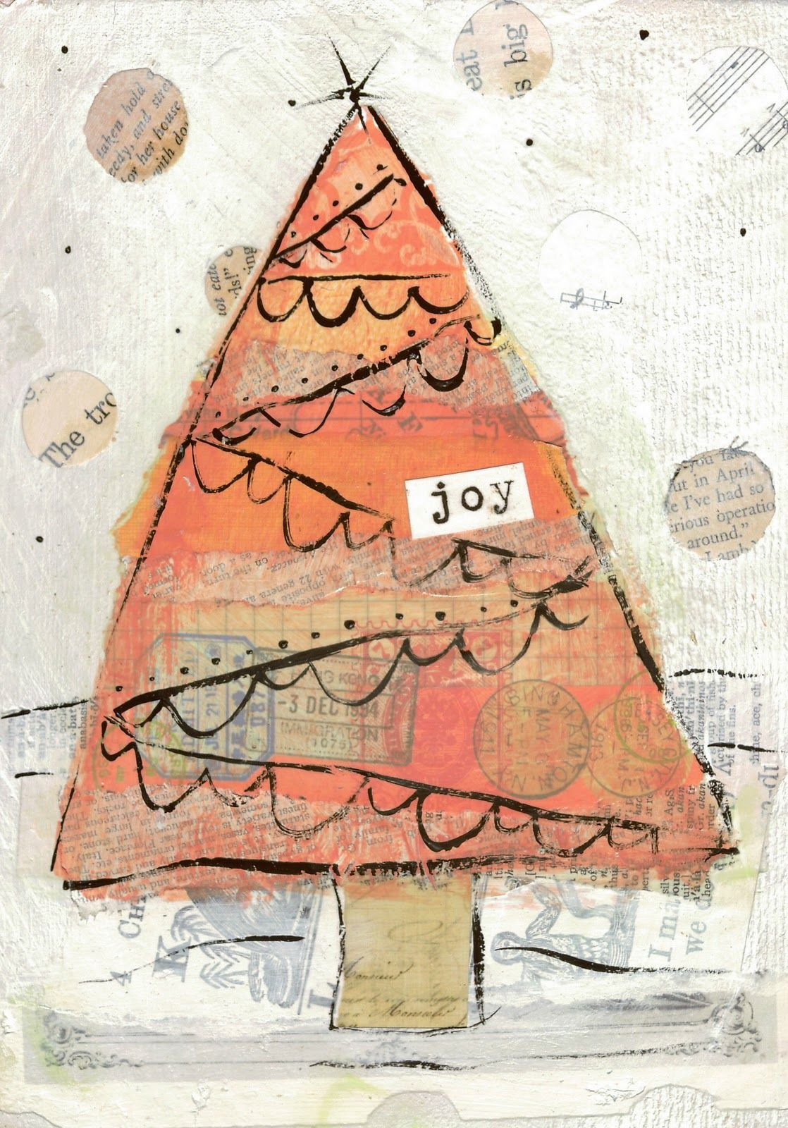 christmas mixed media tree | Art by Erin Leigh: More Christmas Mixed Media Collage Art