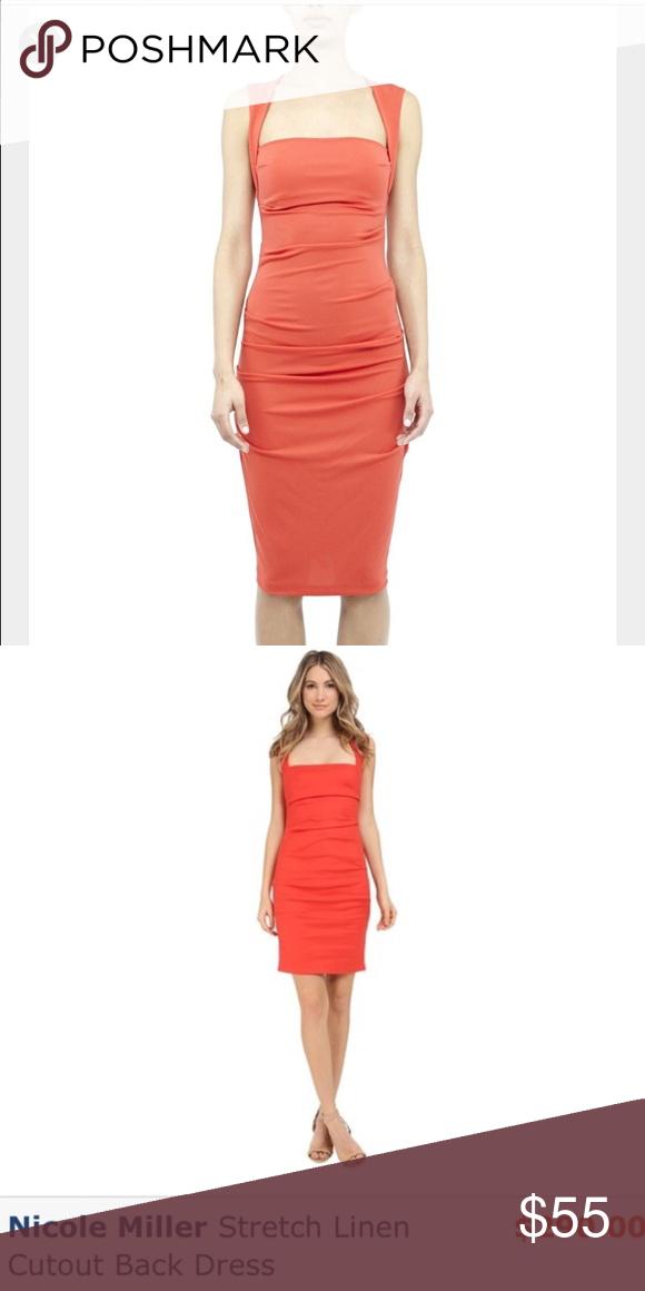 Nicole Miller Back Cut Out C Linen Dress