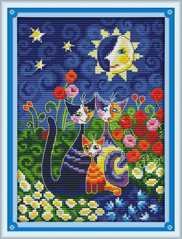 DIY Cat Handmade Needlework Counted 14CT Printed Cross Stitch Embroidery Kit