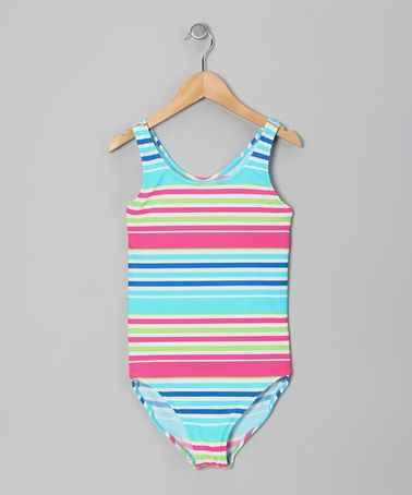 Take a look at this Pink & Blue Stripe One-Piece - Girls by Marina West on #zulily today!