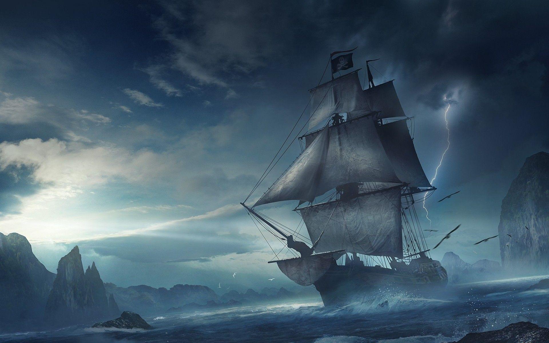 Fantasy ship cliff jolly roger pirate ship rock lightning wallpaper - Pirate Ship Images Fantasy Ship Cliff Jolly Roger Pirate Ship Rock Lightning Wallpaper