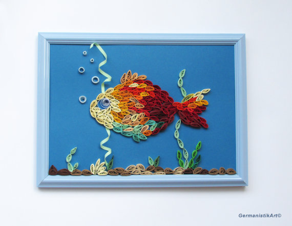 Photo of Framed Seabed Wall Hanging decoration, Quilling Fish Nautical Art