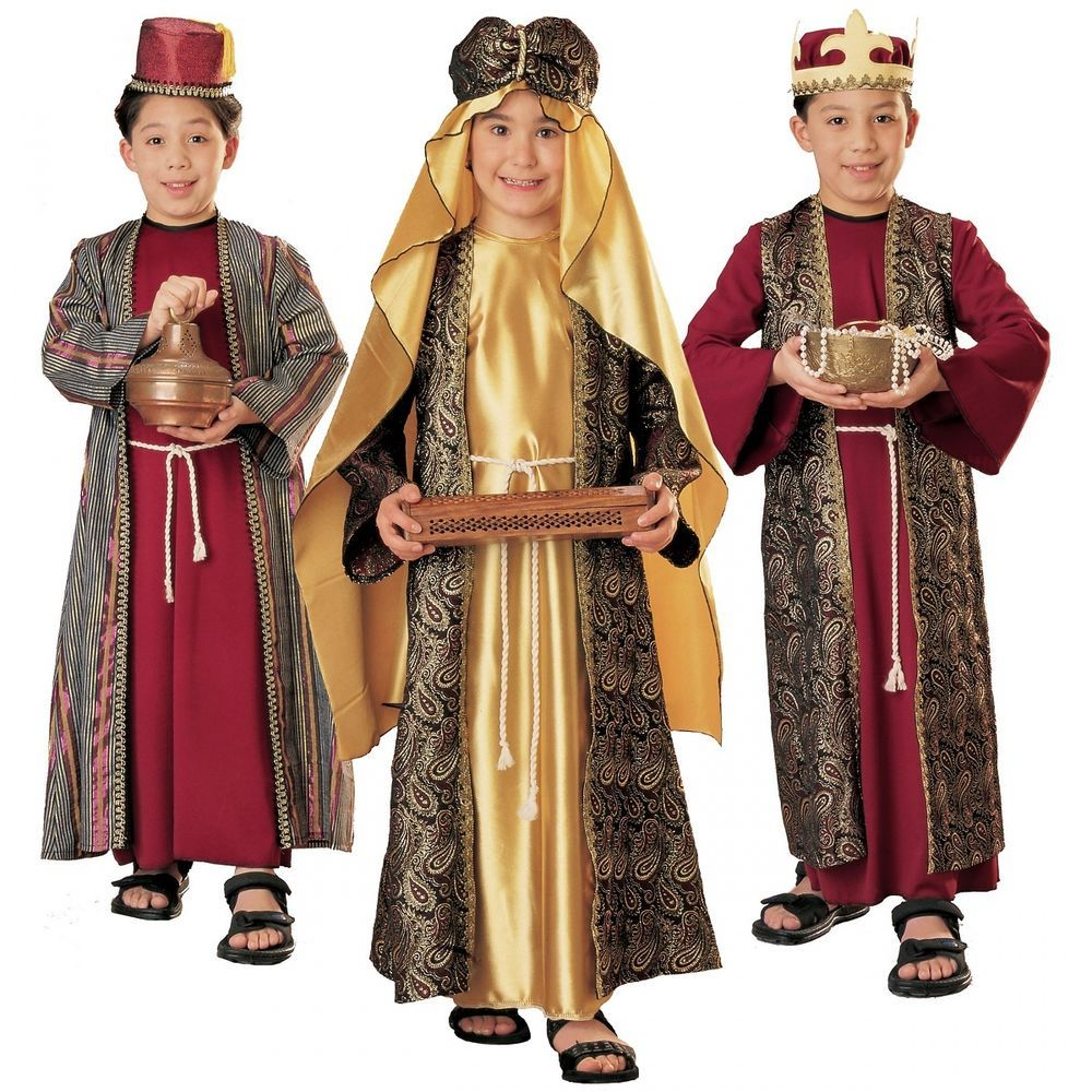 Boys King Costume Three Wise Men Man Fancy Dress Christmas Nativity Child Kids
